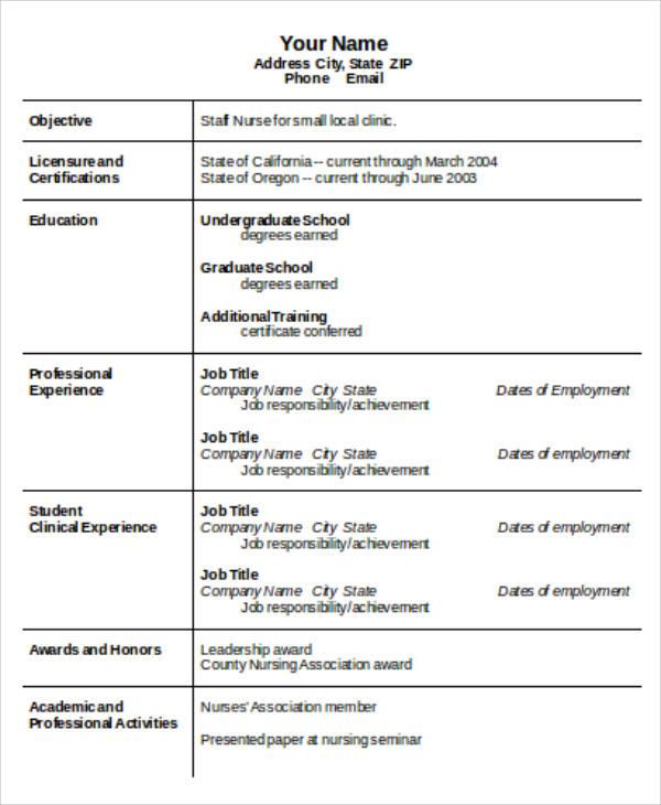 4+ Sample Graduate Nurse Resume - Examples in Word, PDF