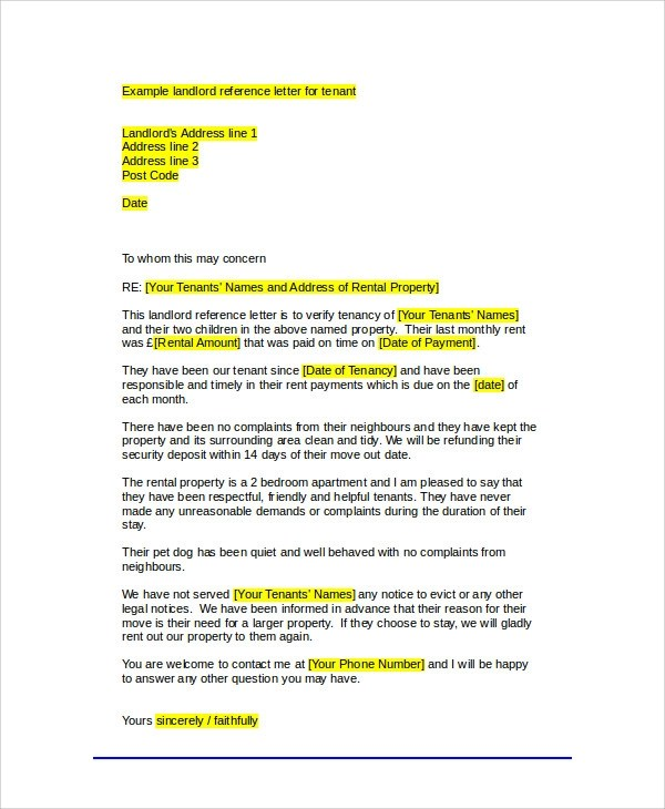 Sample Tenant Recommendation Letter - 7+ Examples in Word, PDF - landlord reference letter