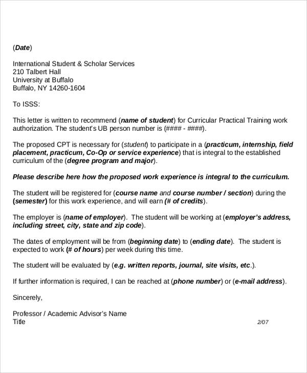 letter of recommendation format for students