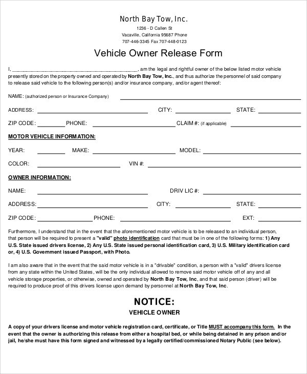 9+ Sample Vehicle Release Forms Sample Templates - insurance release form
