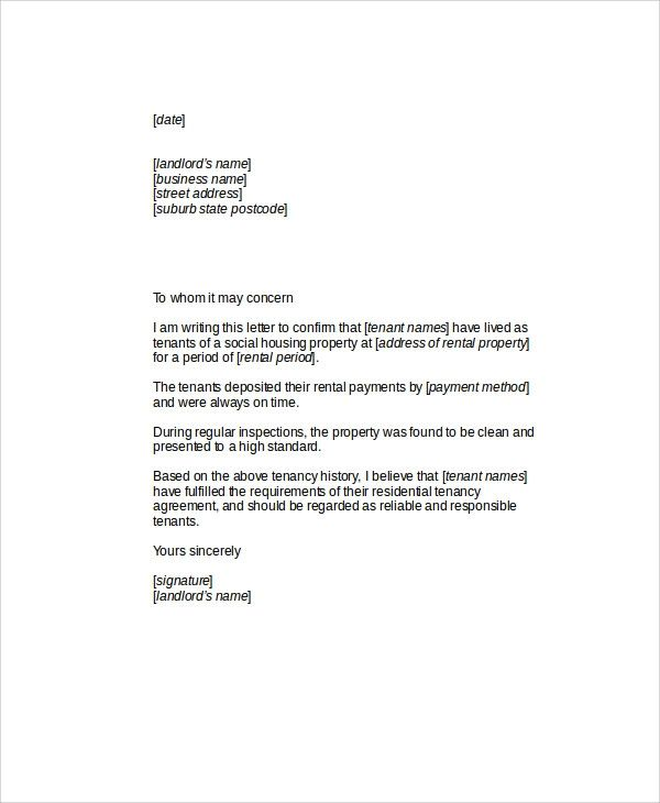 tenants letter of recommendation