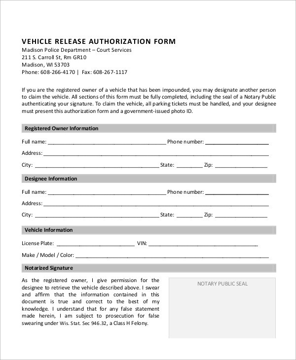 Sample Vehicle Release Form - 9+ Examples in Word, PDF