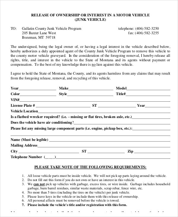 Sample Vehicle Release Form - 9+ Examples in Word, PDF - release of interest form