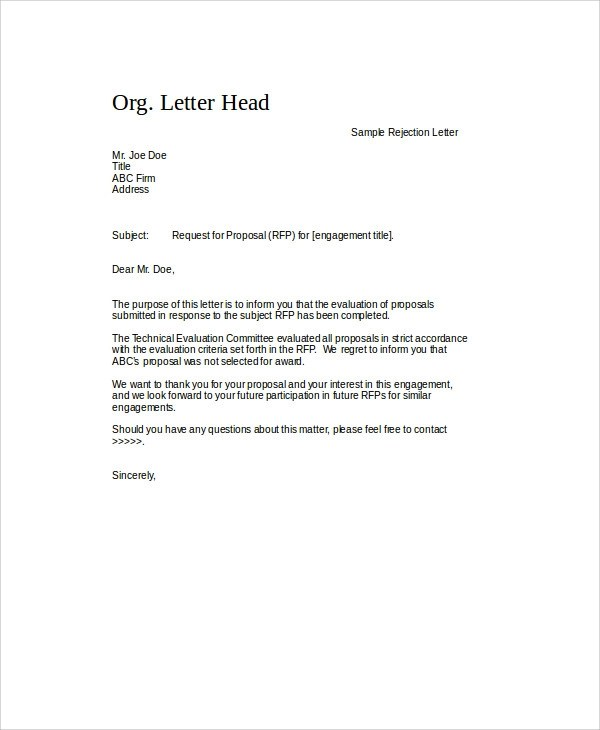 7 Sample Proposal Rejection Letters Sample Templates