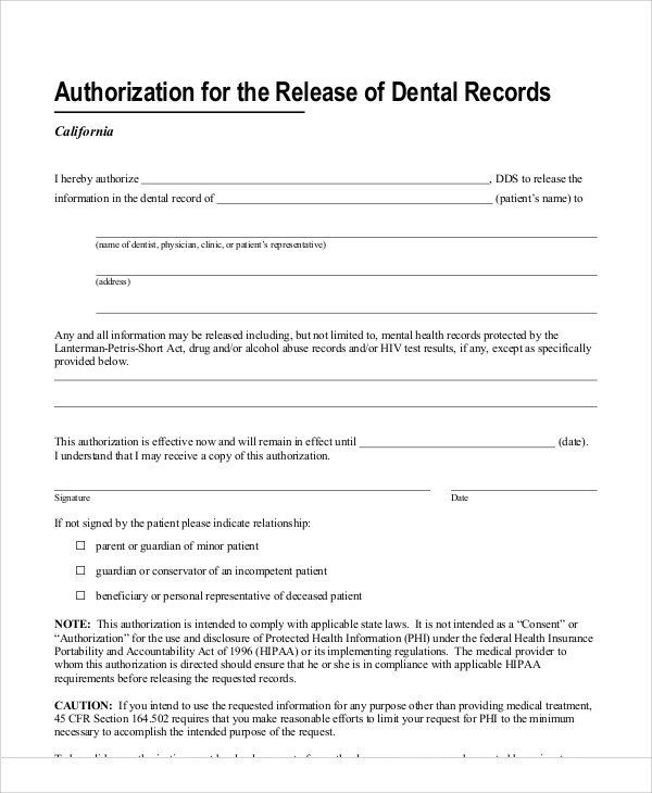Release Form Dental Records  How To Write A Resume Biography
