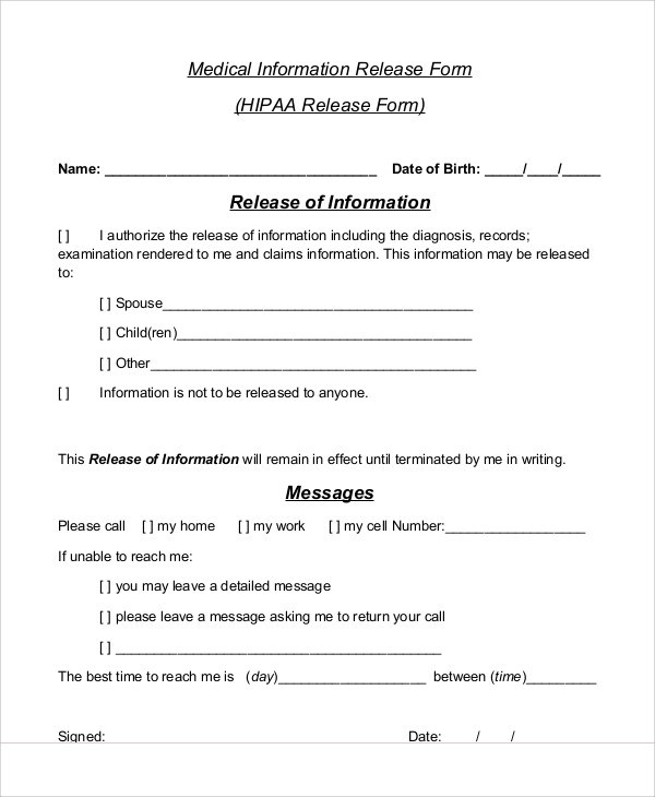 Sample Medical Information Release Form - 7+ Examples in Word, PDF
