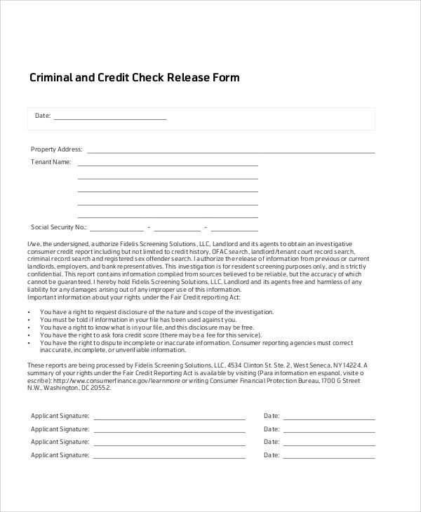 7+ Sample Credit Check Release Forms Sample Templates