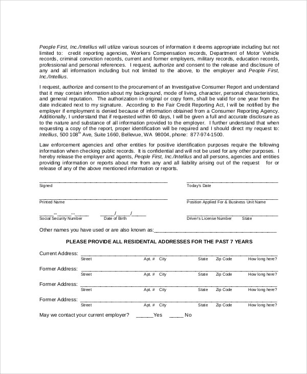 Credit Release Form credit report authorization form template - Credit Check Release Form