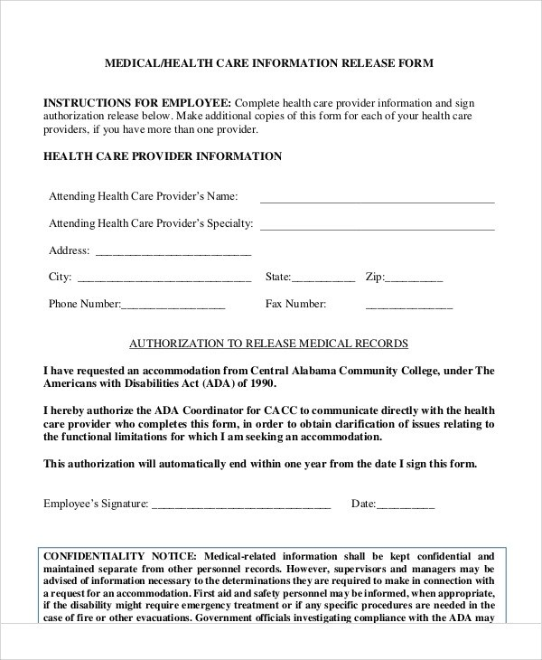 Sample Medical Information Release Form - 7+ Examples in Word, PDF - medical information release form