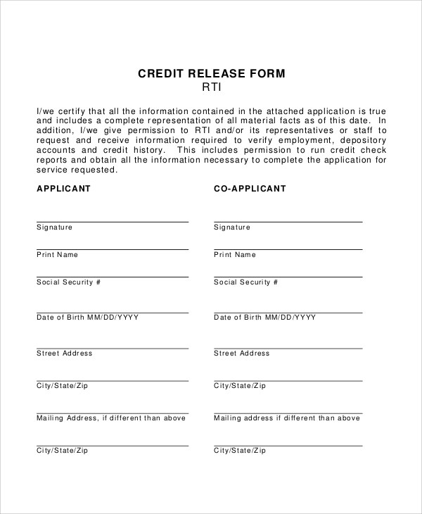 Credit Check Release Form Check Request Forms Check Request Forms