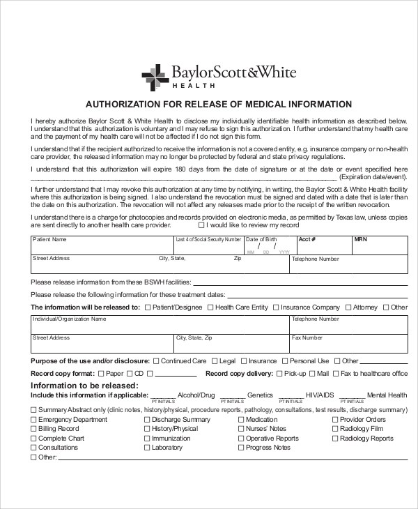 Sample Medical Authorization Form invoice for medical records