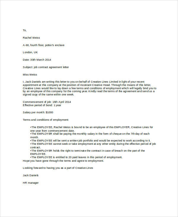 Contract Agreement Letter Letter Agreement, Sample Letter - agreement letter examples