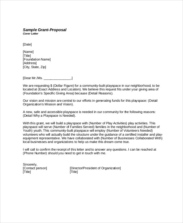 grant proposal cover letter example - Zorayayodhya