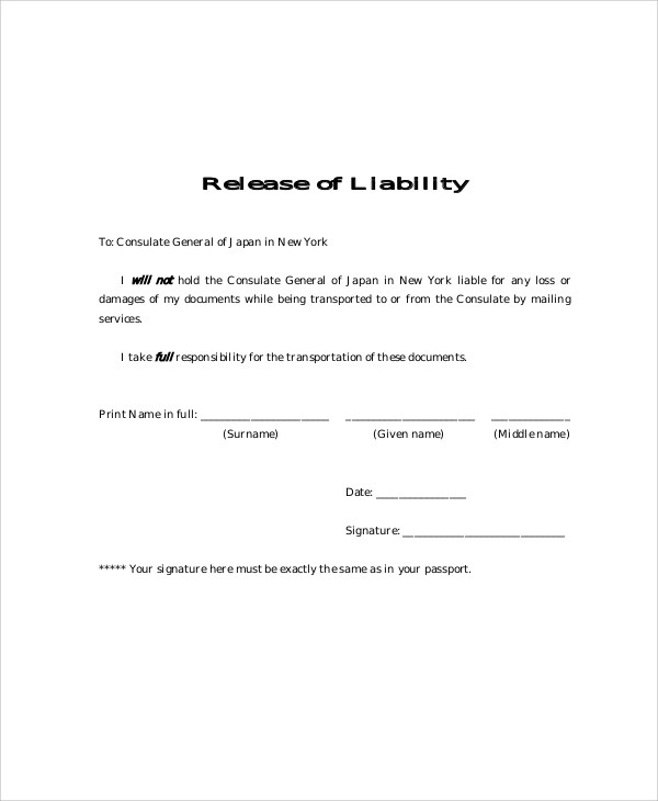 9+ Free Release of Liability Form Samples Sample Templates - liability waiver template word