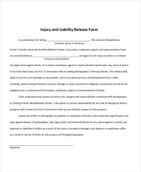 9+ Free Release of Liability Form Samples Sample Templates