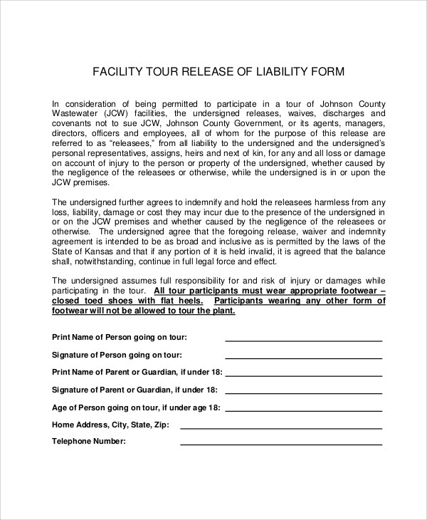 free liability release forms printable online template - free release of liability form