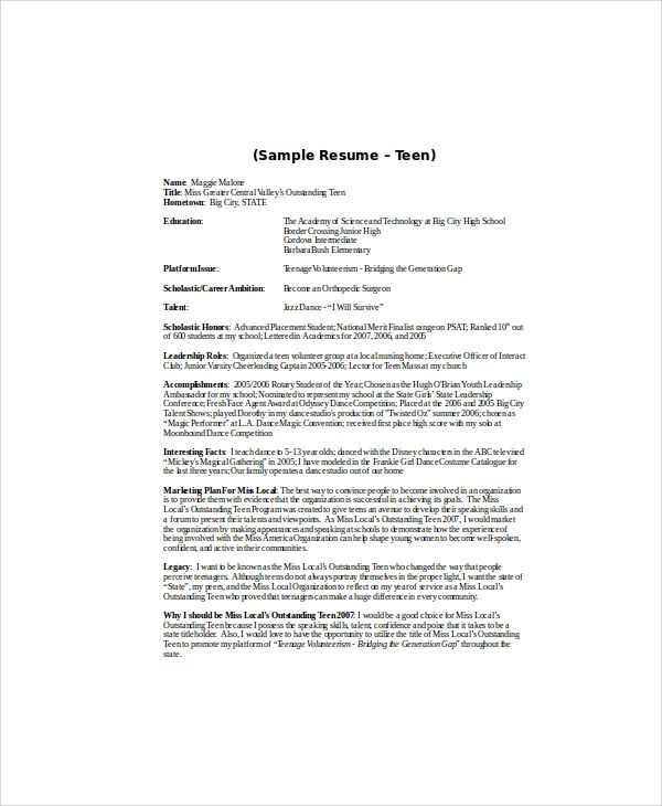 resume sample for opt