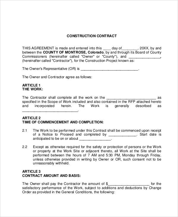 Labour Contract Agreement For House Construction – Residential Construction Contract Template