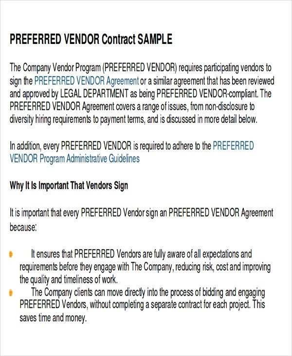 Sample Vendor Agreement - 11+ Examples In Word, PDF - sample vendor contract