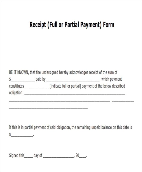 14+ Payment Receipt Acknowledgment \u2013 PDF, Word, Excel, Pages - form for receipt of payment