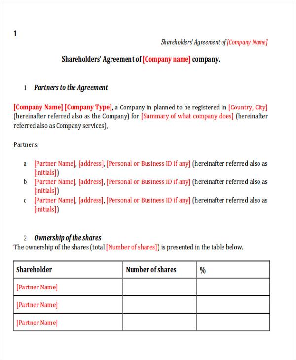 Sample Shareholder Agreement - 10+ Examples in Word, PDF - shareholder agreement