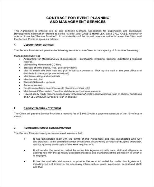 event planner contract - Trisamoorddiner