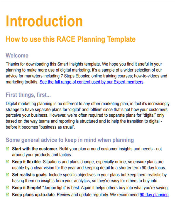 12+ Sample Digital Marketing Plan - Examples In Word, PDF