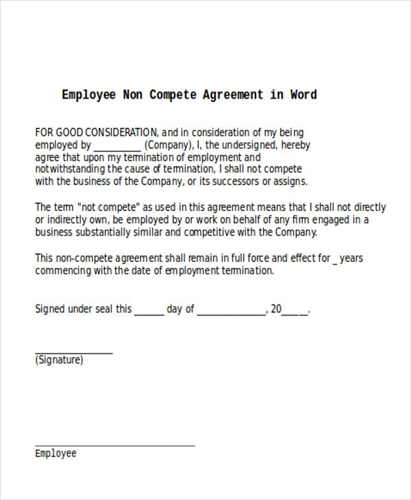 9+ Sample Word Non-Compete Agreements Sample Templates - agreement in word