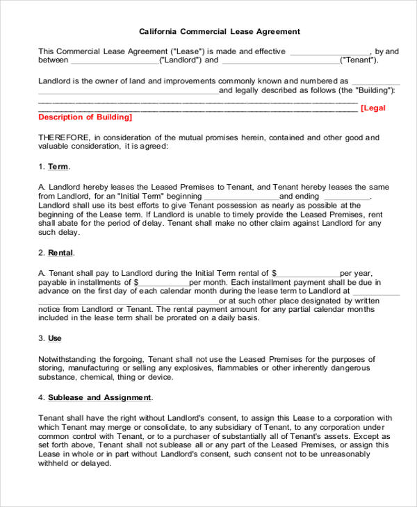 Sample Rental Lease Agreement Form - 6+ Examples in Word ,PDF - printable lease agreement sample