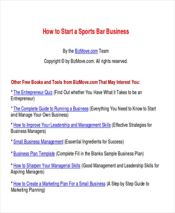 7+ Sample Bar Business Plans Sample Templates