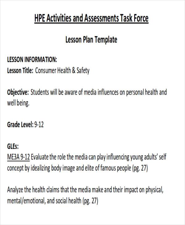7+ Sample Health Lesson Plans Sample Templates