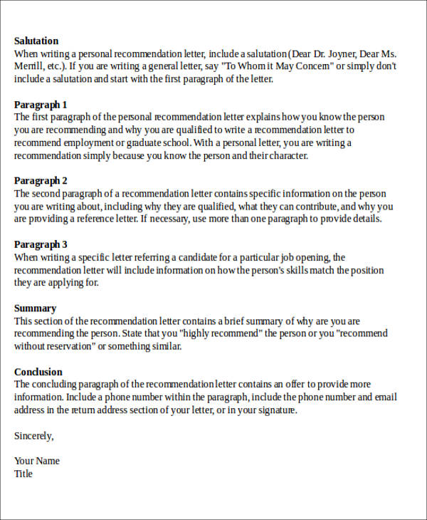 Sample Formal Letter of Recommendation - 8+ Examples in Word, PDF
