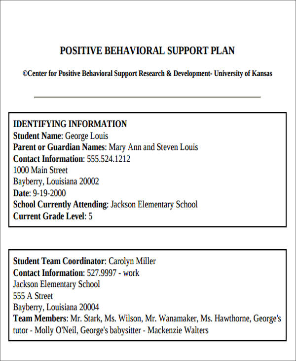 6+ Behavior Intervention Plan Examples Sample Templates