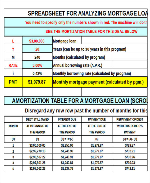 30 year mortgage amortization schedule excel