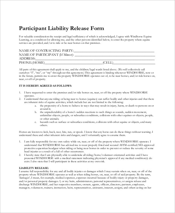 Sample Equine Release Form - 7+ Examples in Word, PDF - liability release form