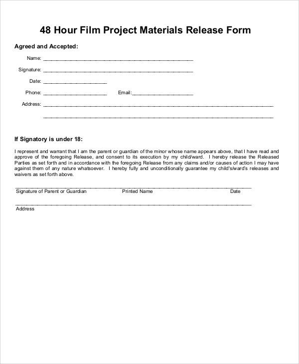 8+ Sample Material Release Forms Sample Templates