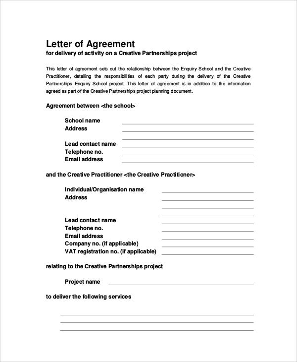 31+ Sample Agreement Letters Sample Templates