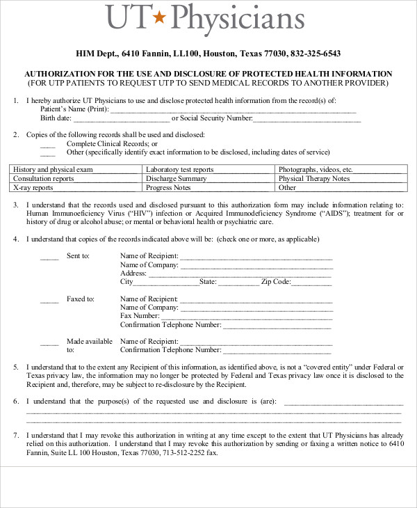 ... Sample Physician Release Form   9+ Examples In Word, PDF   Sample  Medical Records ... Photo