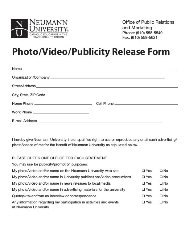 8+ Sample Publicity Release Forms Sample Templates - video release forms