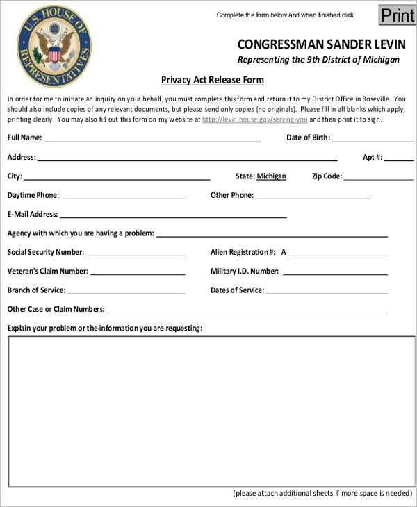 Privacy Act Release Form Privacy Act Release Records Form Sample