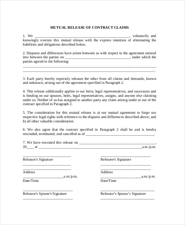 10+ Sample Contract Release Forms Sample Templates