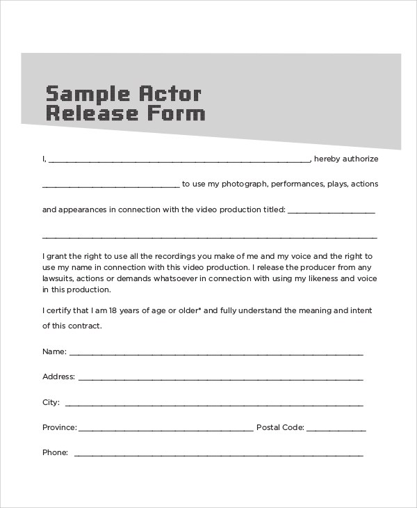 ... Sample Contract Release Form   10+ Examples In Word, PDF   Actor Release  Forms ...