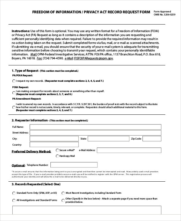9+ Sample Privacy Act Release Forms Sample Templates
