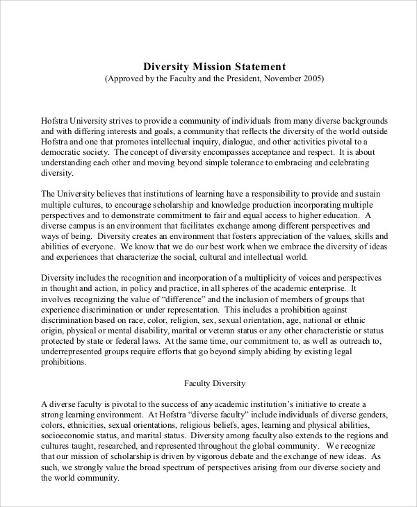 Diversity Mission Statement Examples Gallery - example cover letter
