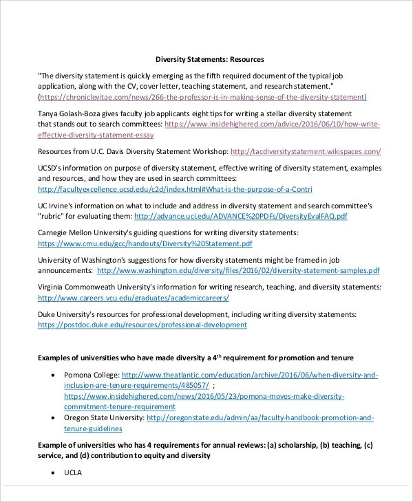 Diversity Statement Sample - 9+ Examples in Word, PDF