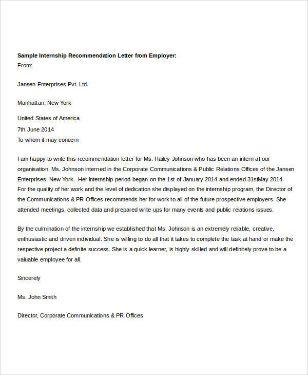 recommendation letter sample for intern