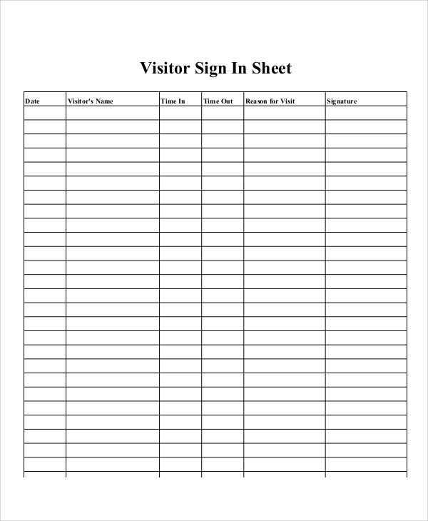 Sample Printable Sign-In Sheet - 10+ Examples in Word, PDF