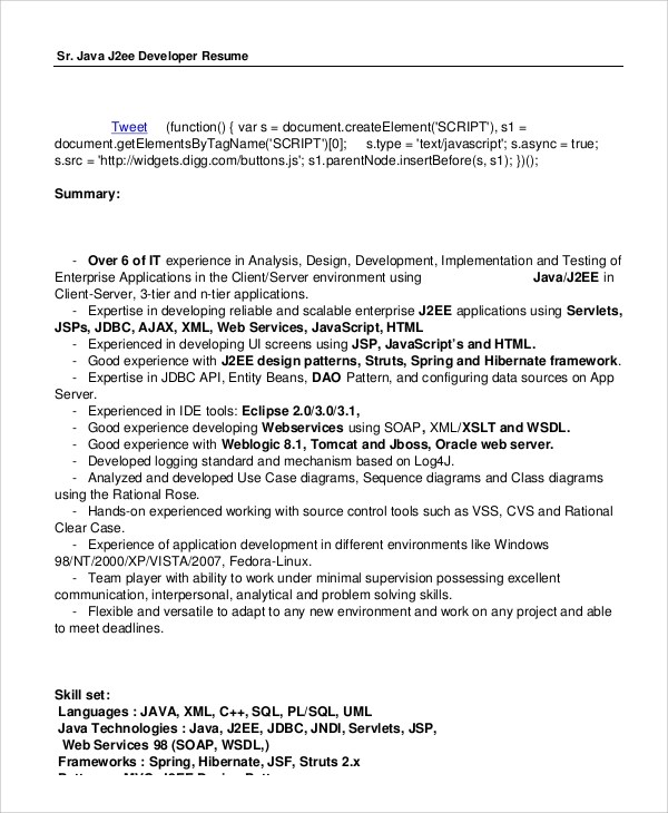 7+ Sample Java Developer Resumes Sample Templates - java developer resumes