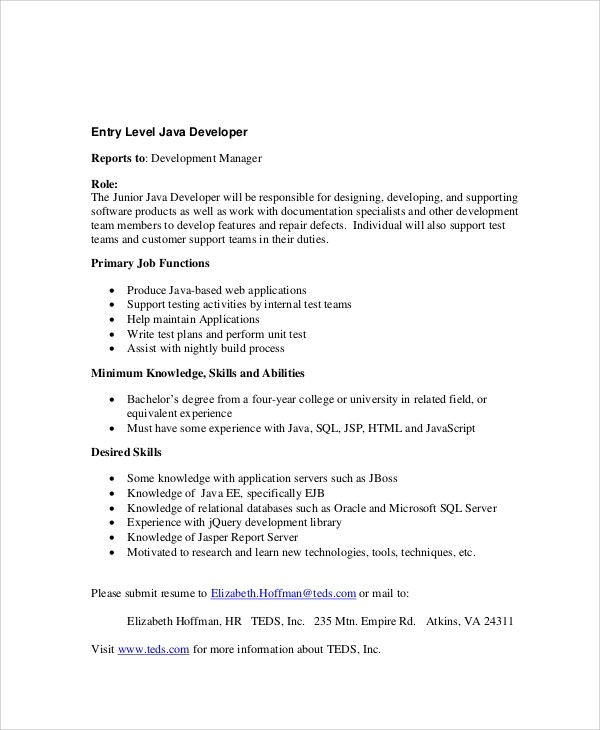 entry level java developer resume lukex co