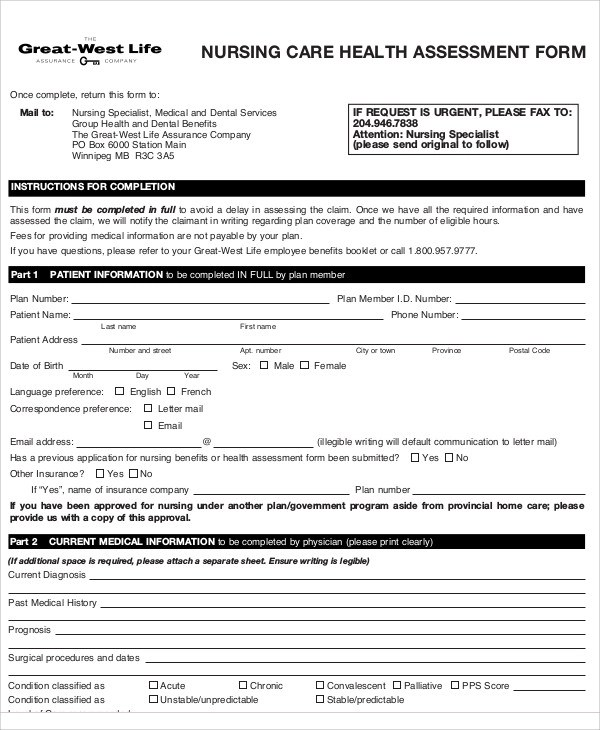 9+ Nursing Assessment Form Samples Sample Templates - Assessment Form In Pdf